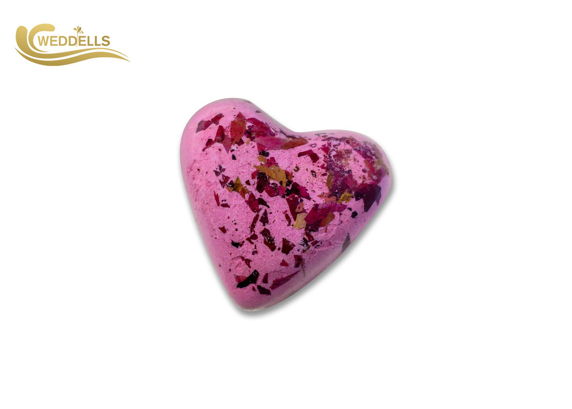 Corn Starch Custom  Heart Shaped Bath Bombs With Gold Powder / Petal